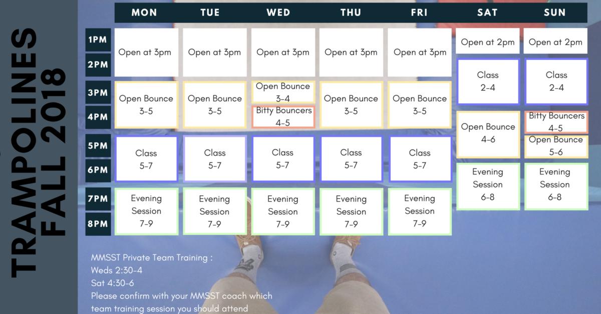 Mammoth Trampoline Club Schedule Fall 2018