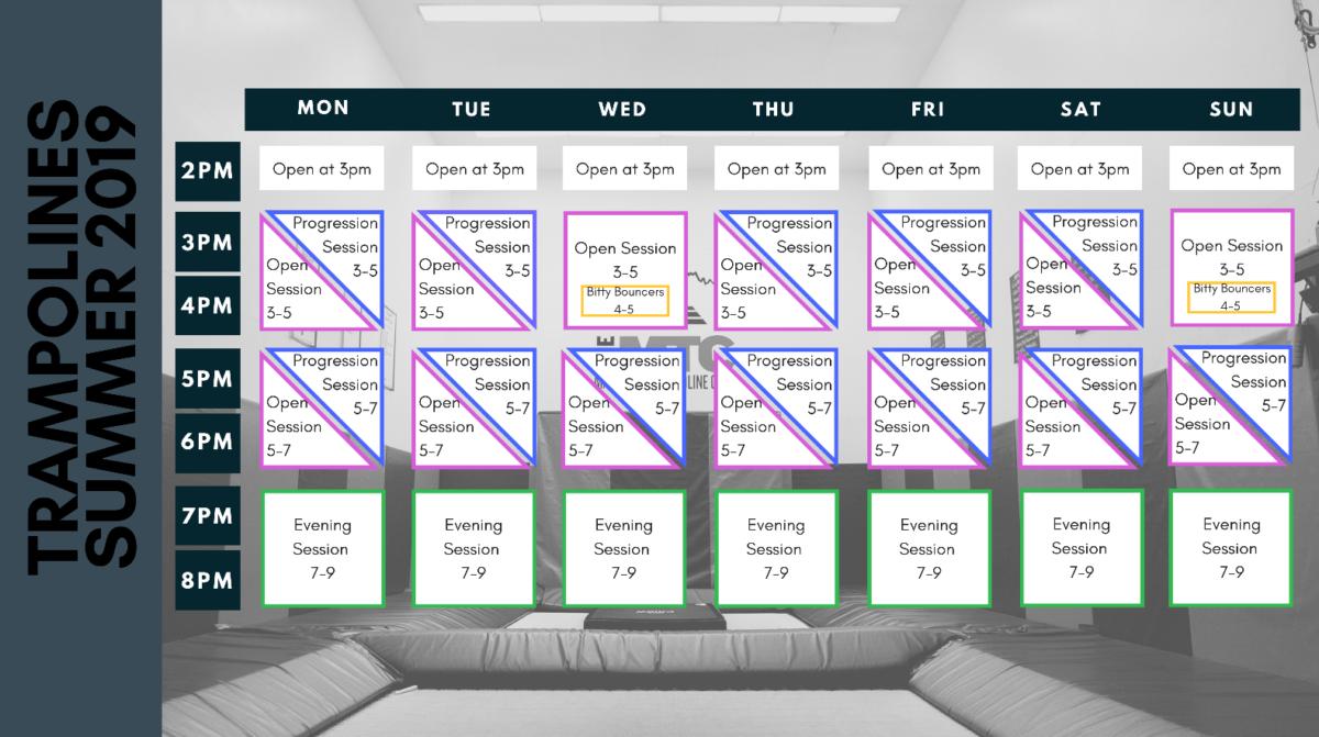 Mammoth trampolines schedule summer 2019