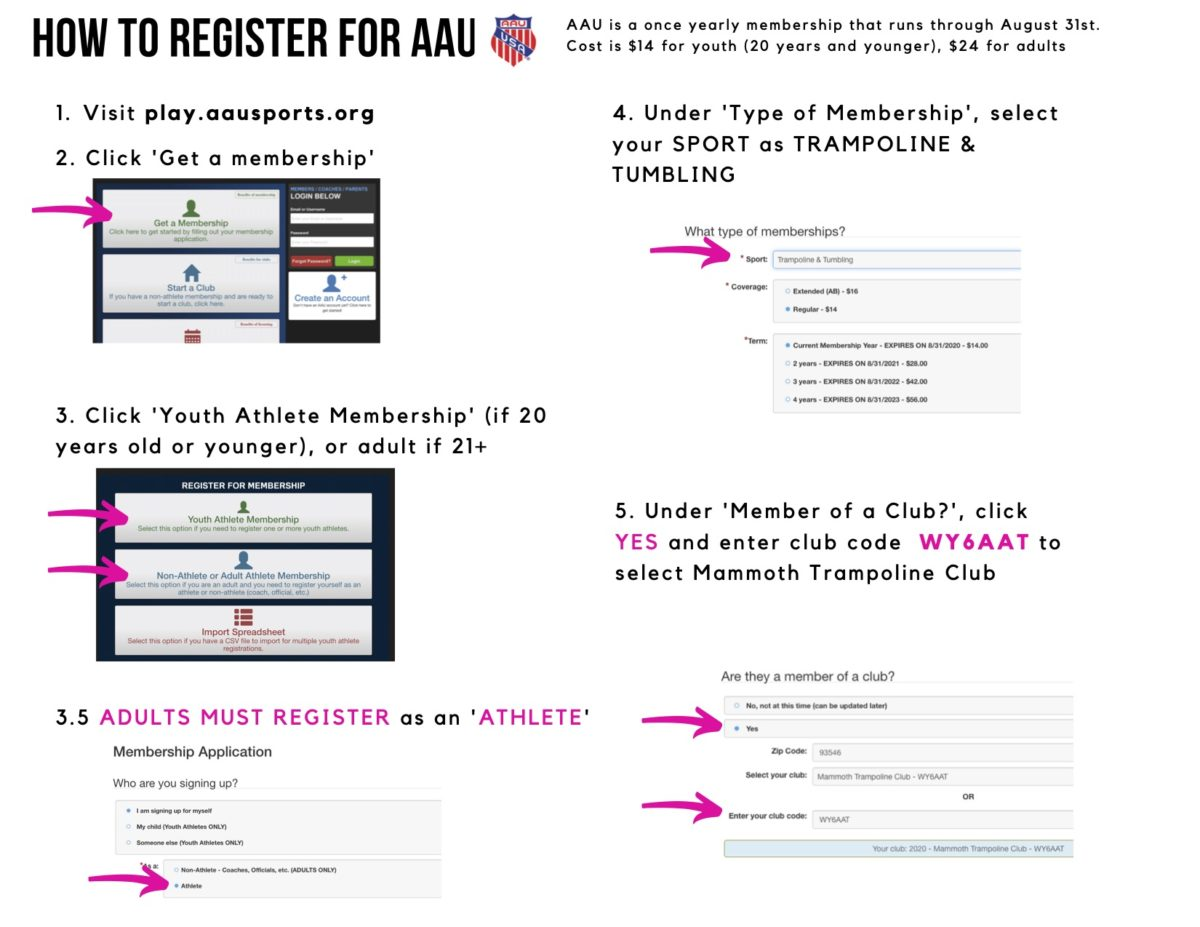 Register for AAU adults explanation